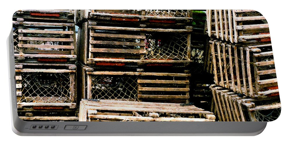 Lobster Traps Portable Battery Charger featuring the painting Stacked Traps by Paul Sachtleben