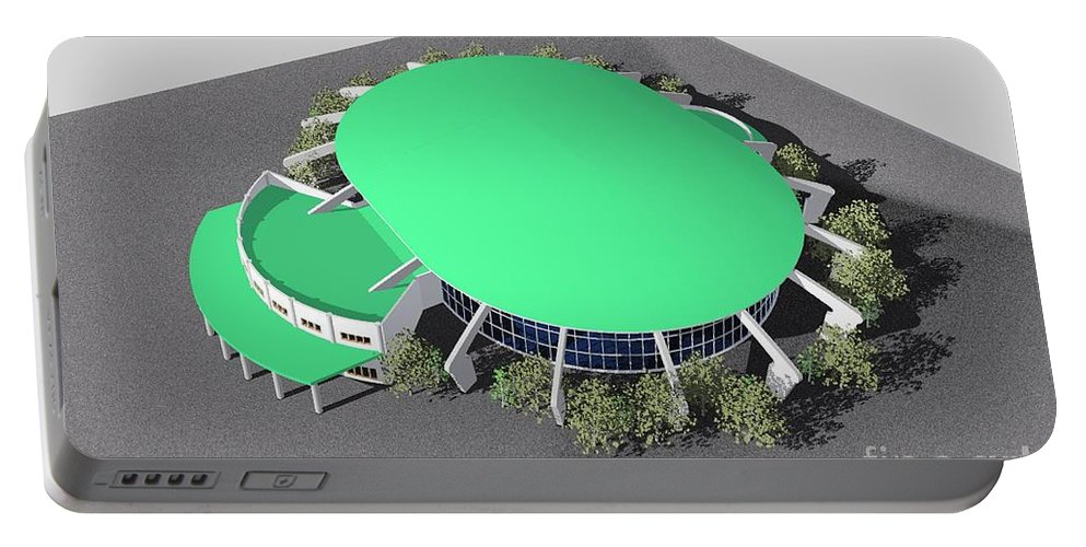 Building Rendering Portable Battery Charger featuring the digital art Stadium Model by Ron Bissett