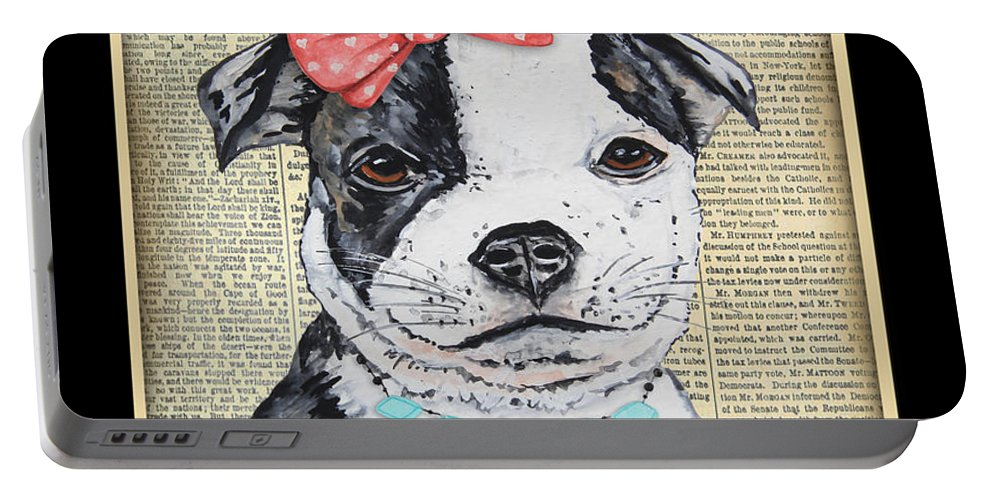 Staffordshire Terrier Portable Battery Charger featuring the painting Staffordshire Terrier-jp3857 by Jean Plout