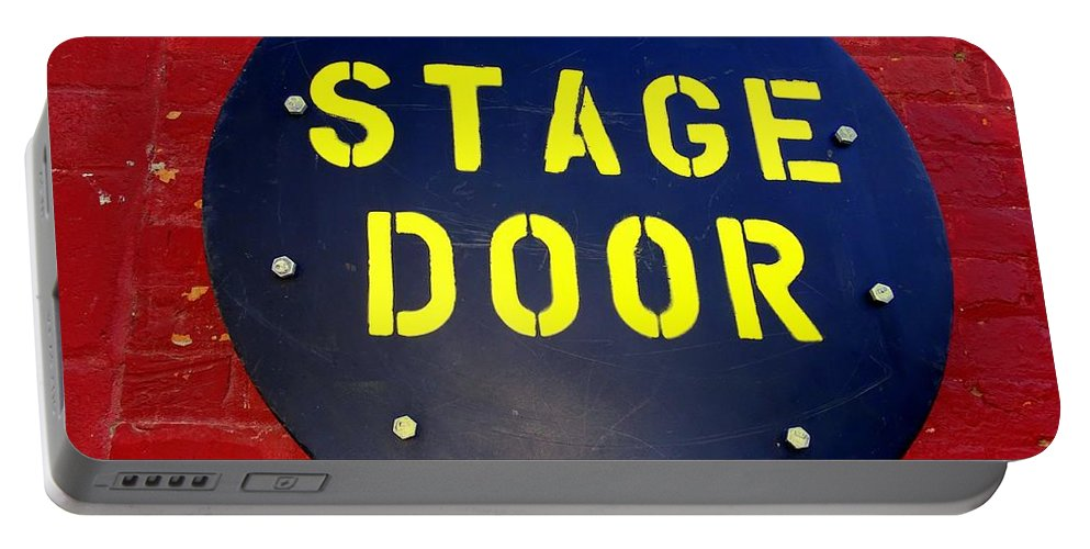 Signs Portable Battery Charger featuring the photograph Stage Door by Ed Weidman