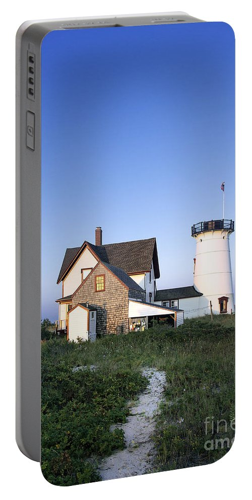 New England Portable Battery Charger featuring the photograph Stage Harbor Lighthouse by John Greim