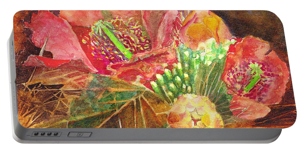 Staghorn Portable Battery Charger featuring the painting Staghorn In Bloom by Eric Samuelson