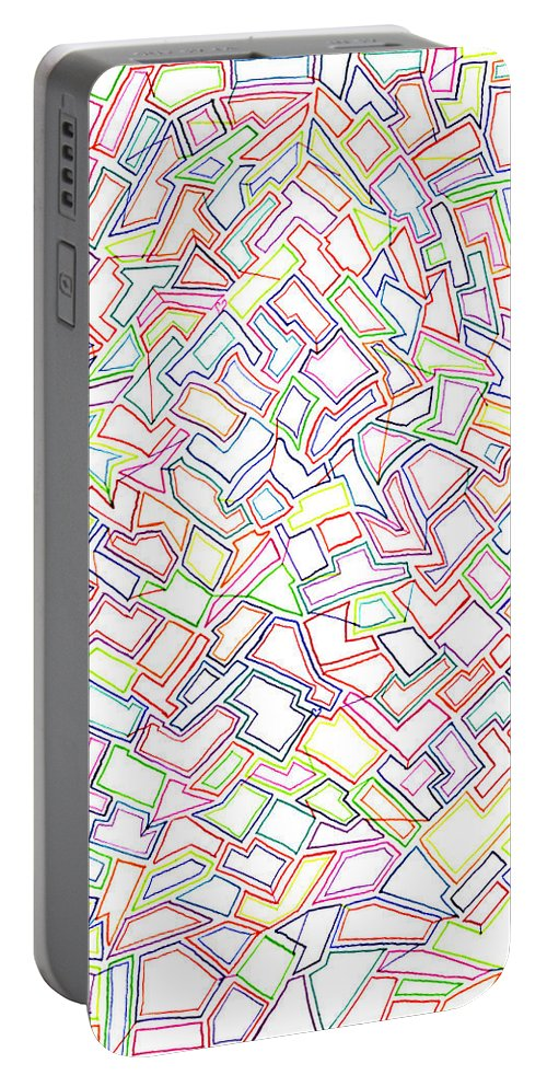Mazes Portable Battery Charger featuring the drawing Stained Glass 2 by Steven Natanson