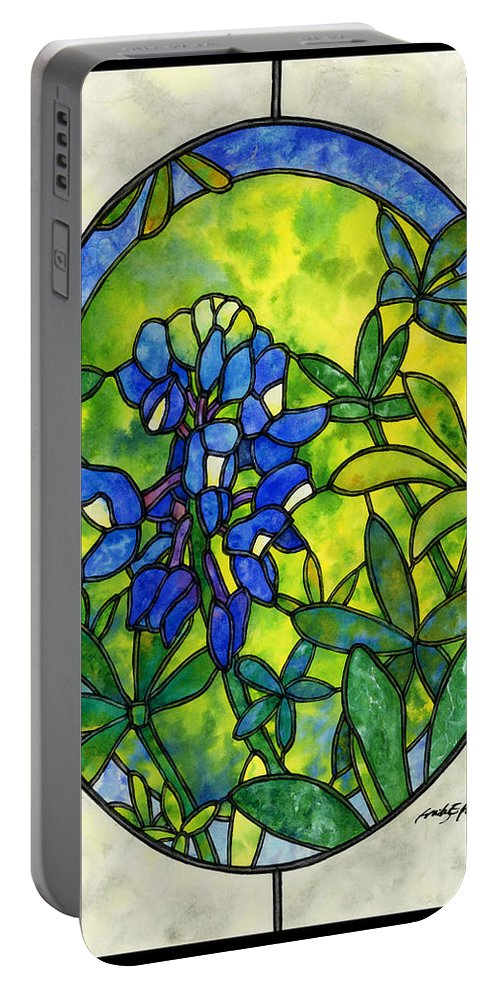 Stained Glass Portable Battery Charger featuring the painting Stained Glass Bluebonnet by Hailey E Herrera