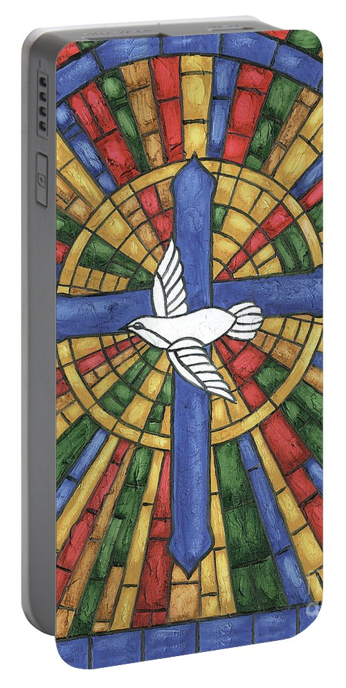 Dove Portable Battery Charger featuring the painting Stained Glass Cross by Debbie DeWitt
