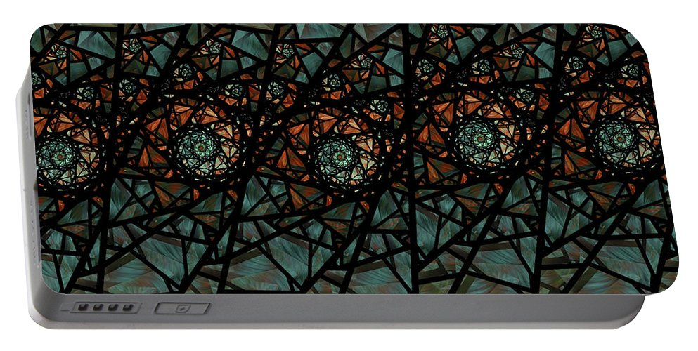 Fractal Portable Battery Charger featuring the digital art Stained Glass Floral I by Amorina Ashton
