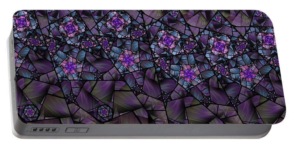 Fractal Portable Battery Charger featuring the digital art Stained Glass Floral II by Amorina Ashton