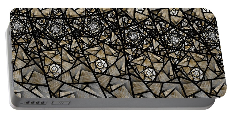 Fractal Portable Battery Charger featuring the digital art Stained Glass Floral IIi by Amorina Ashton