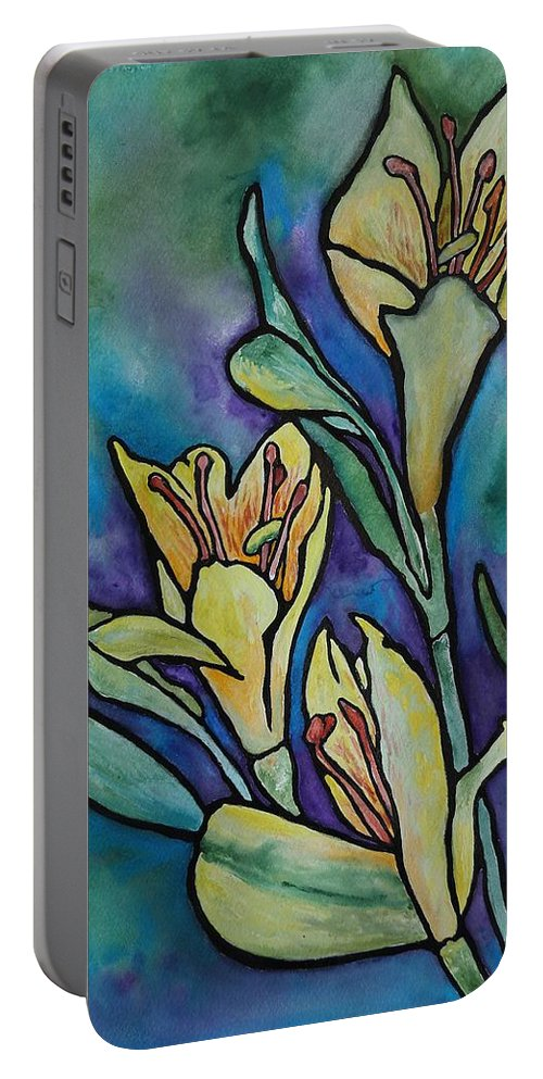 Flowers Portable Battery Charger featuring the painting Stained Glass Flowers by Ruth Kamenev