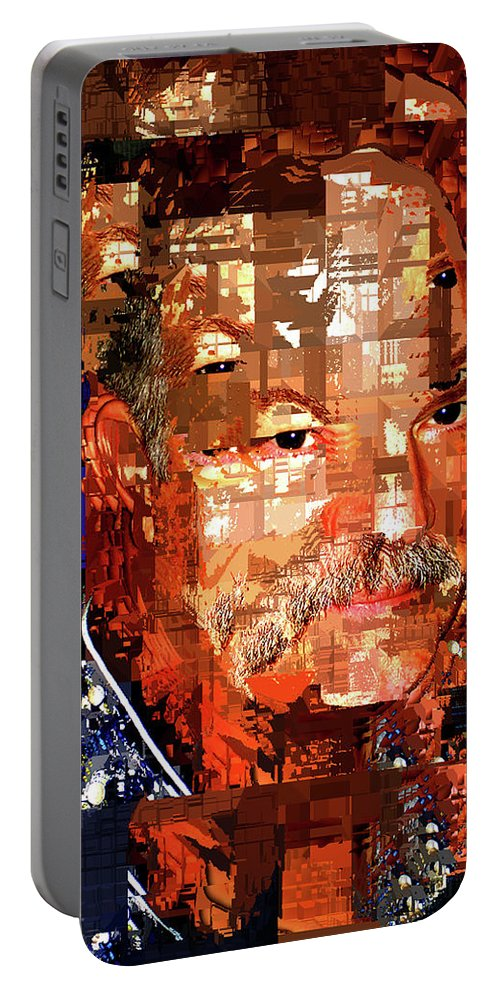 Stained Glass Man Portable Battery Charger featuring the digital art Stained Glass Man by Seth Weaver