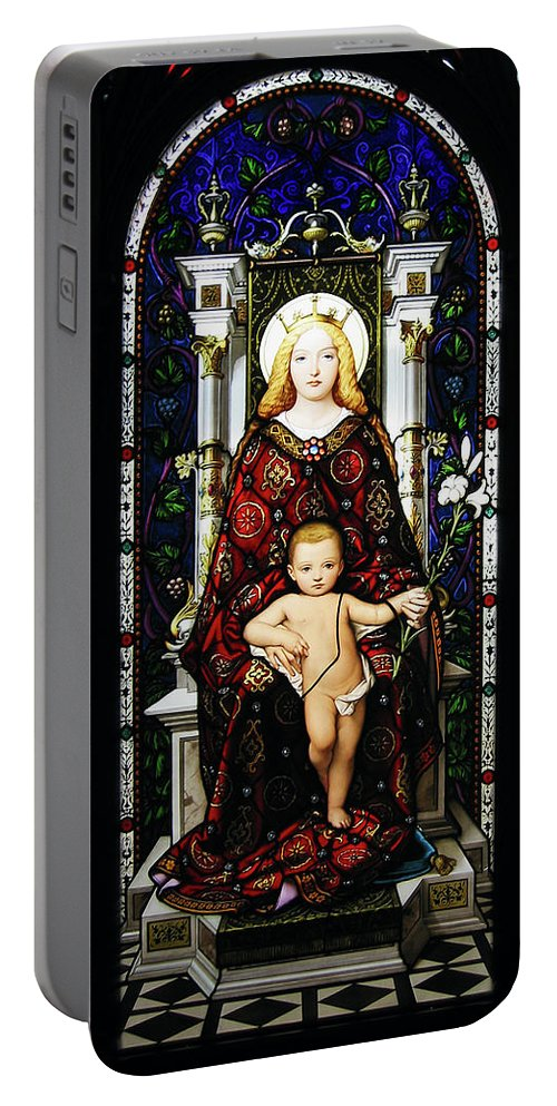 3scape Portable Battery Charger featuring the photograph Stained Glass Of Virgin Mary by Adam Romanowicz