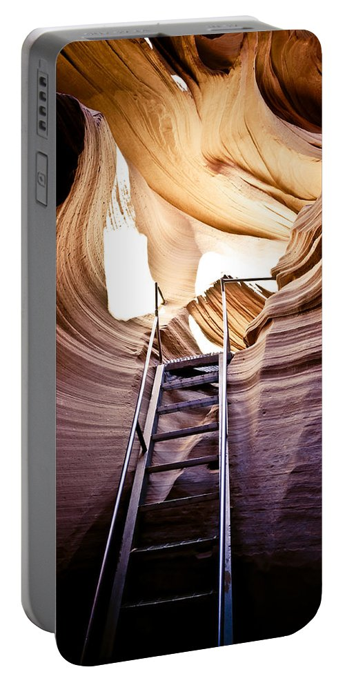 Canyon Portable Battery Charger featuring the photograph Stairs From Chaos by Scott Sawyer