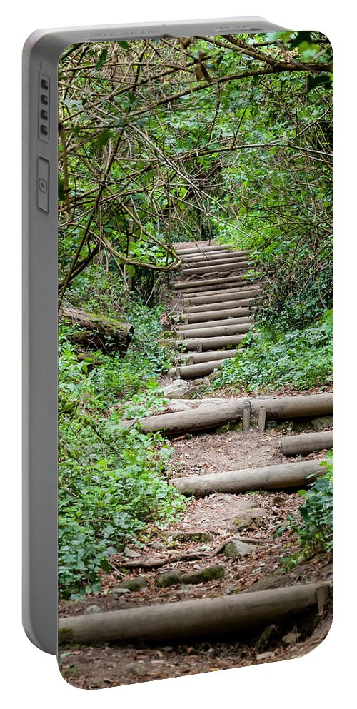 Woods Portable Battery Charger featuring the photograph Stairs Going Up Hillside by Enrico Della Pietra