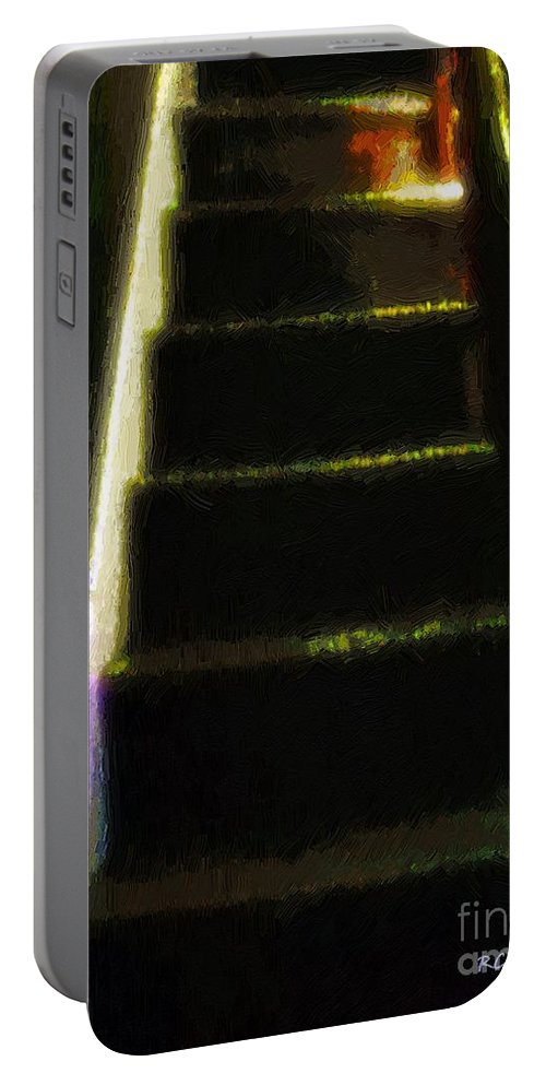 Stairs Portable Battery Charger featuring the painting Stairs To The Madwoman's Attic by RC DeWinter
