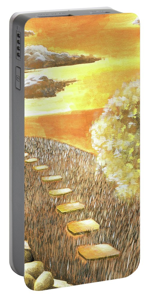 Light Portable Battery Charger featuring the painting Stairs Towards The Horizon by Evie Williams