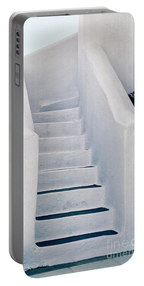 Stairs Portable Battery Charger featuring the photograph Stairway In Mykonos by Madeline Ellis