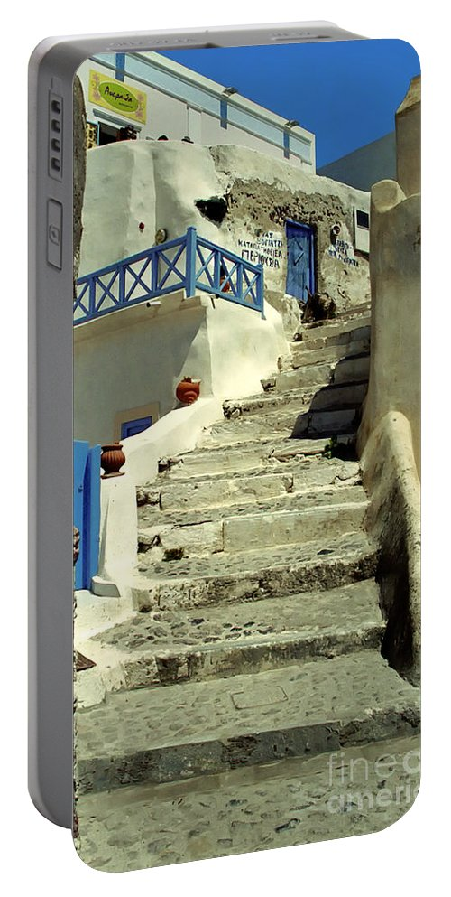 Stairs Portable Battery Charger featuring the photograph Stairway In Santorini by Madeline Ellis