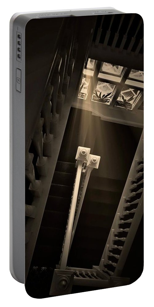 Old Portable Battery Charger featuring the photograph Stairway Light, Redstone Castle, Colorado by Zayne Diamond Photographic