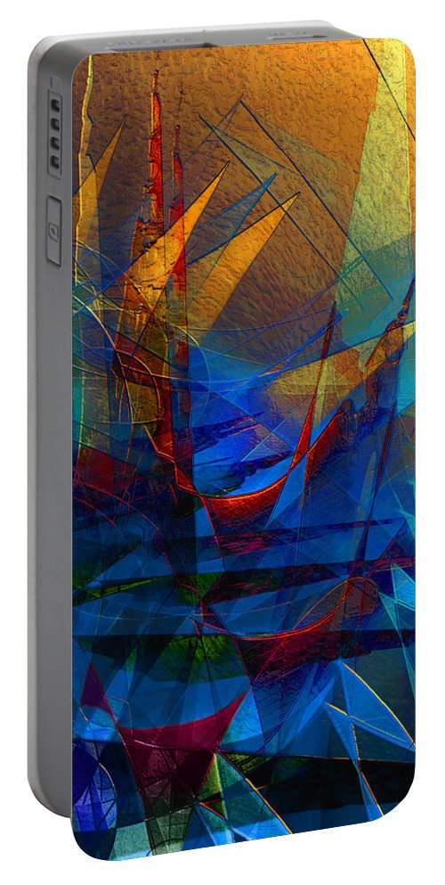 Abstract Portable Battery Charger featuring the digital art Stairway Upon Grail Passeges by Stephen Lucas