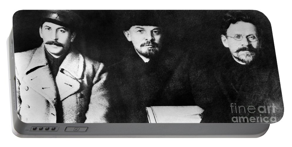 1919 Portable Battery Charger featuring the photograph Stalin, Lenin & Trotsky by Granger