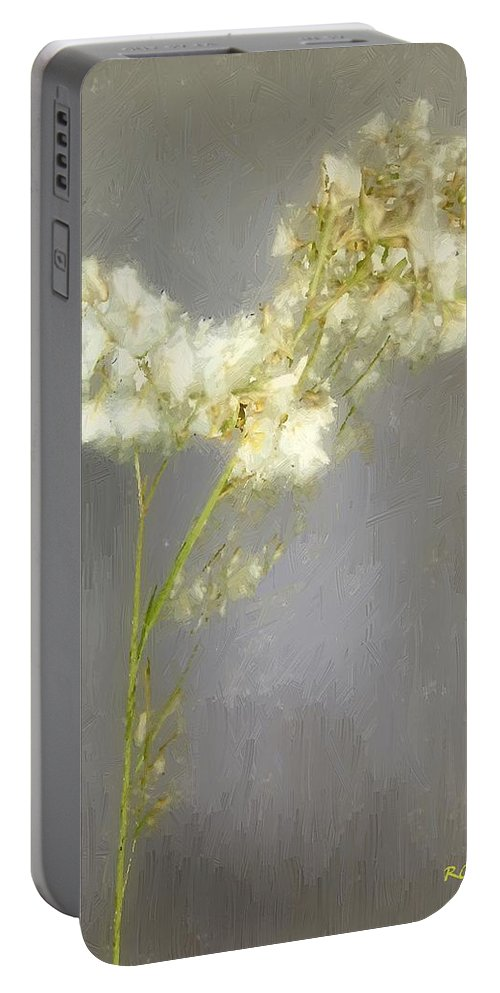 Flowers Portable Battery Charger featuring the painting Stalk Of Pearls by RC DeWinter