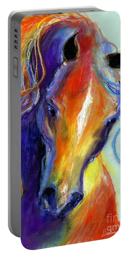 Stallion Art Portable Battery Charger featuring the painting Stallion Horse Painting by Svetlana Novikova