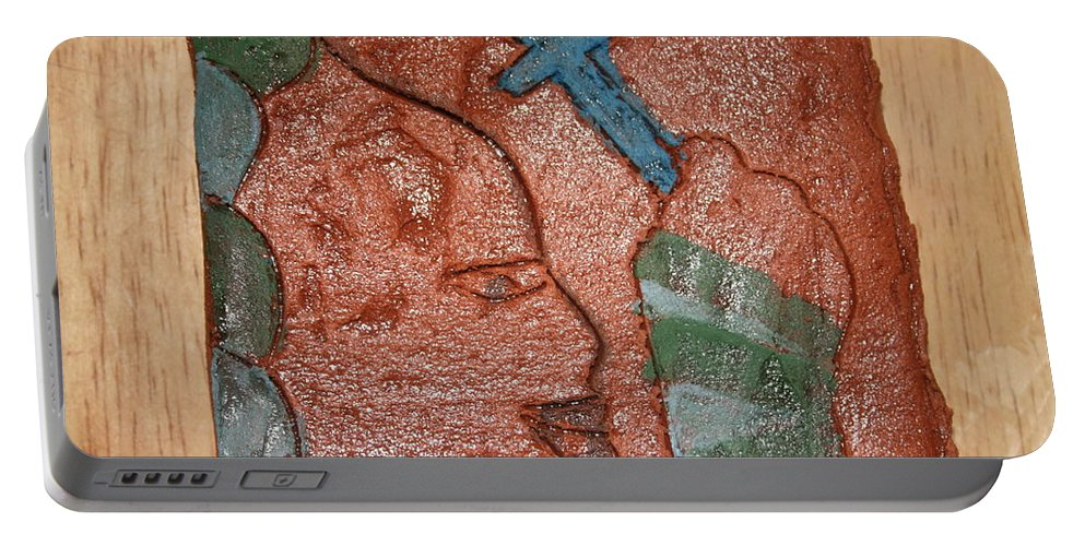 Jesus Portable Battery Charger featuring the ceramic art Stalwart - Tile by Gloria Ssali
