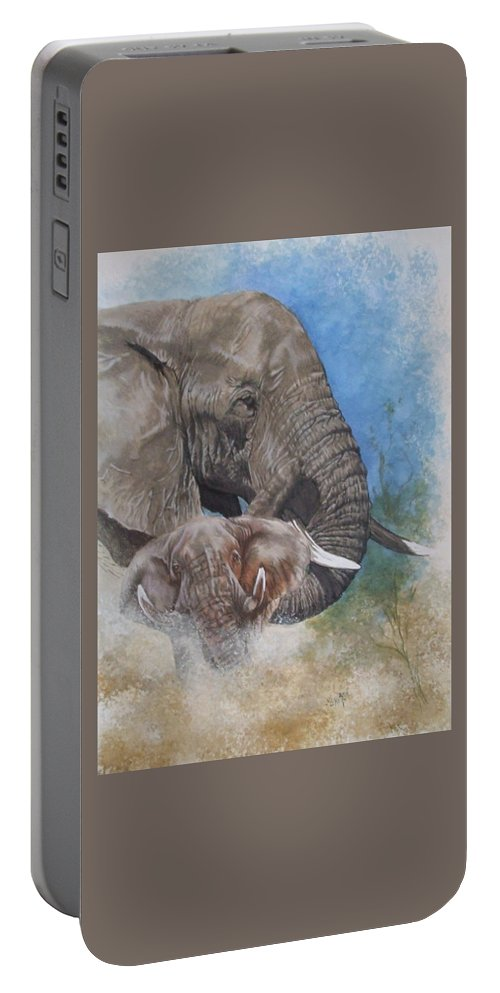 Elephant Portable Battery Charger featuring the mixed media Stalwart by Barbara Keith
