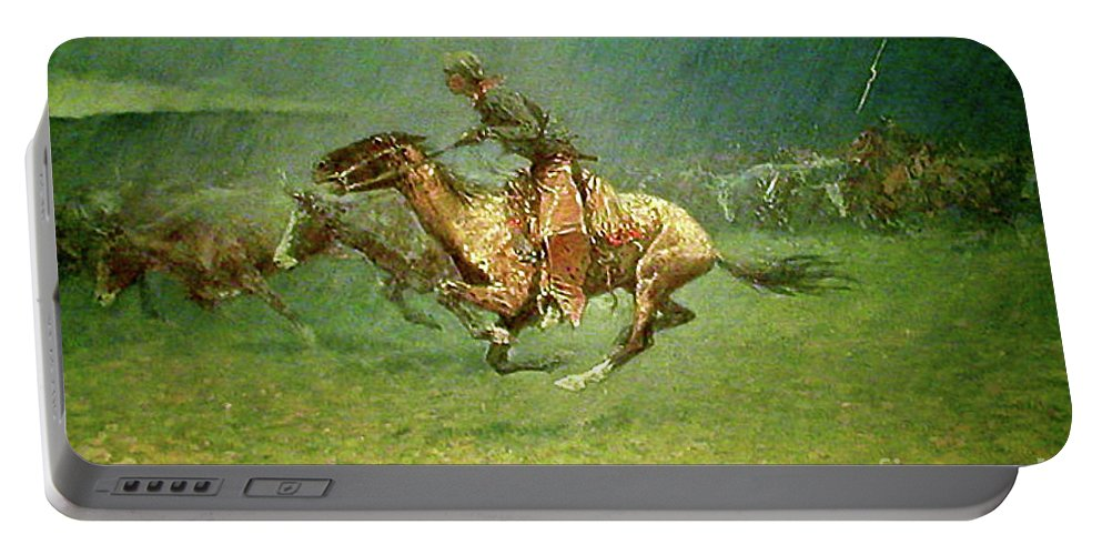 Frederick Remington Portable Battery Charger featuring the painting Stampede By Lightning, Digitally Enhanced, Frederic Remington by Frederic Remington