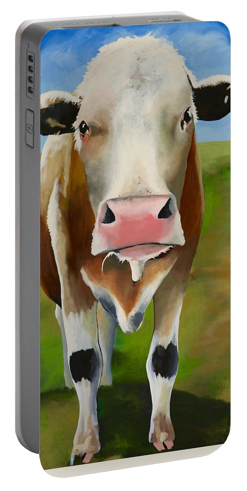 Cow Portable Battery Charger featuring the painting Standing In Field by Lori A Johnson