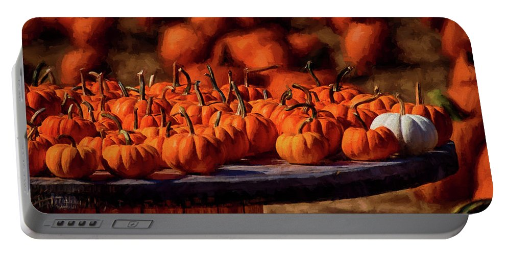 Pumpkins Portable Battery Charger featuring the photograph Standing Out by Tricia Marchlik