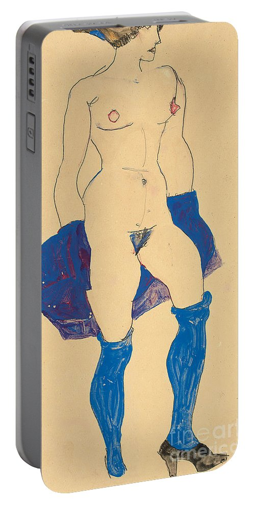 Nude Portable Battery Charger featuring the drawing Standing Woman With Shoes And Stockings by Egon Schiele