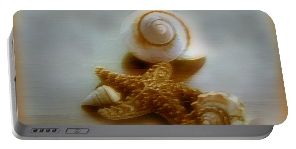 Beach Art Portable Battery Charger featuring the photograph Star And Shells by Linda Sannuti