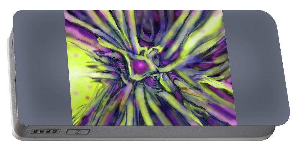 Abstract Portable Battery Charger featuring the digital art Star Burst by Ian MacDonald
