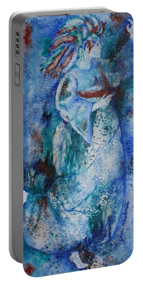 Abstract Portable Battery Charger featuring the painting Star Dancer by Jean Blackmer