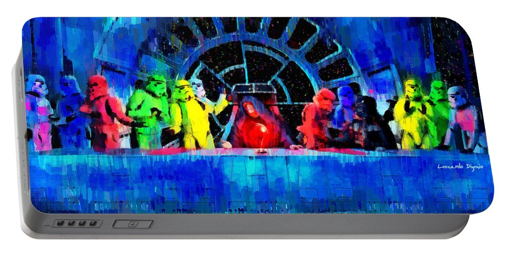 Last Supper Portable Battery Charger featuring the painting Star Wars Empire Last Supper - Pa by Leonardo Digenio