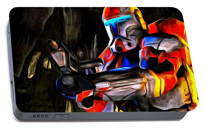 Star Wars 7 Portable Battery Charger featuring the painting Star Wars Hunter by Leonardo Digenio