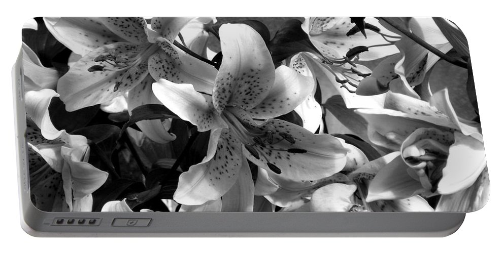 Black And White Photography Portable Battery Charger featuring the photograph Stargazer Lilies Bw by Barbara Griffin