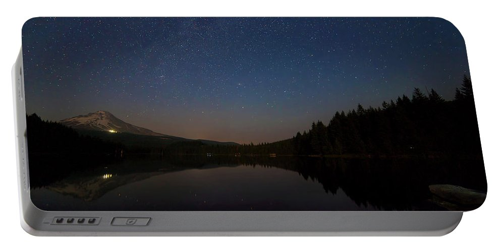Trillium Lake Portable Battery Charger featuring the photograph Stargazing At Trillium Lake by David Gn