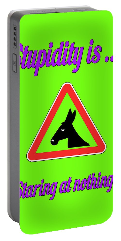 Funny Portable Battery Charger featuring the digital art Staring Bigstock Donkey 171252860 by Mitchell Watrous