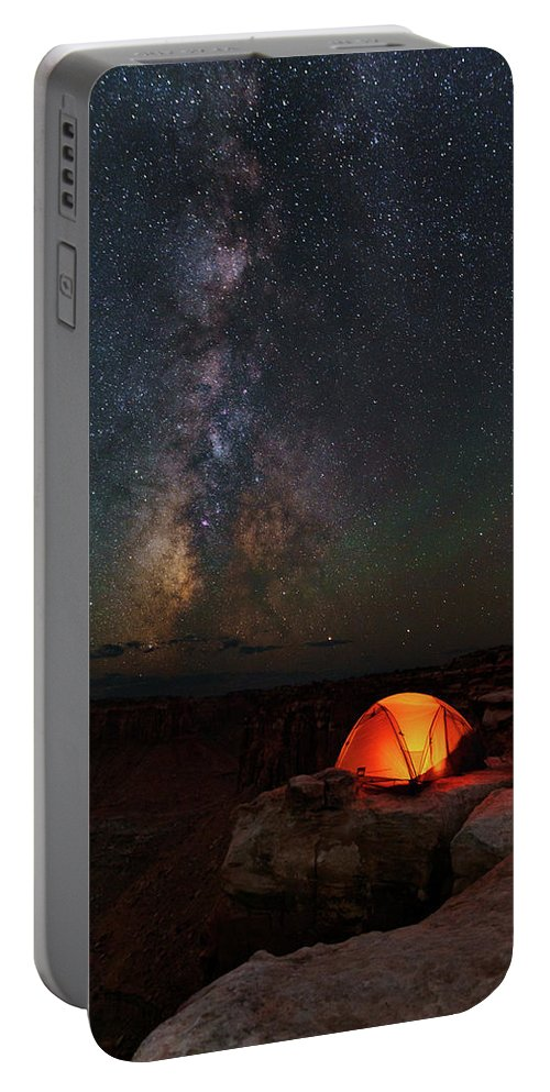 All Rights Reserved Portable Battery Charger featuring the photograph Starlight Camping On The Canyon Edge by Mike Berenson
