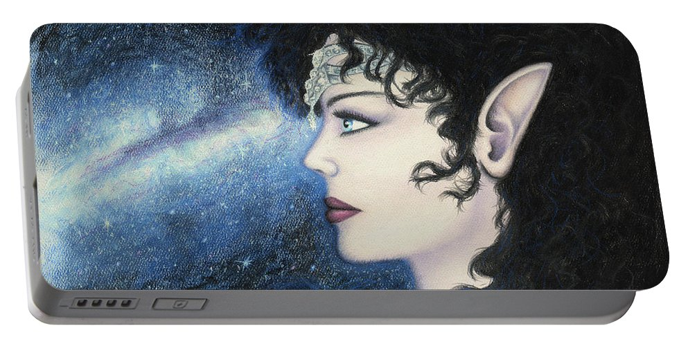 Starlight Portable Battery Charger featuring the painting Starlight Maiden by Joy Landa