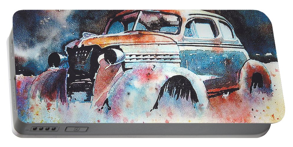 Chev Portable Battery Charger featuring the painting StarlightChevy by Ron Morrison