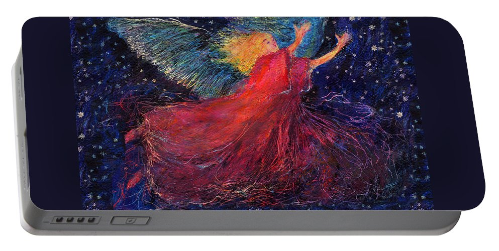 Angel Portable Battery Charger featuring the painting Starry Angel by Diana Ludwig