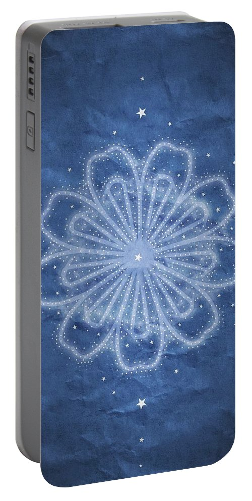 Starry Kaleidoscope Portable Battery Charger featuring the digital art Starry Kaleidoscope by Sandy Taylor