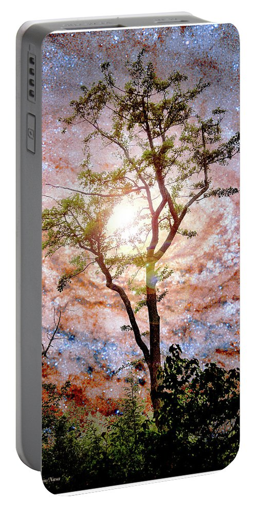 Starry Night Portable Battery Charger featuring the photograph Starry Night Fantasy, Tree Silhouette by A Gurmankin NASA
