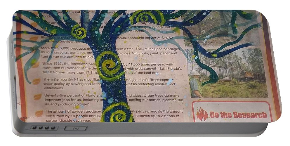 Tree Portable Battery Charger featuring the painting Starry Night-inspired Tree by Vale Anoa'i