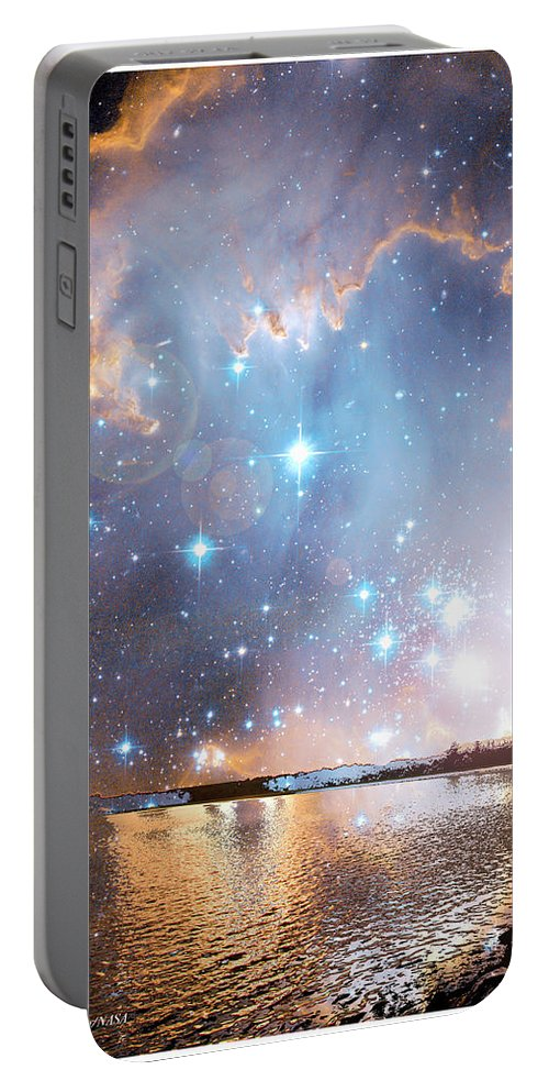 Stars Portable Battery Charger featuring the photograph Starry Night Over A Mountain Lake Fantasy by A Gurmankin NASA