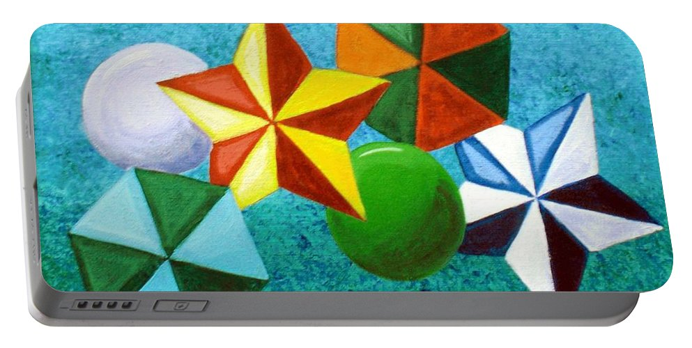 Stars Portable Battery Charger featuring the painting Stars Circles And Hexagons by Nancy Sisco