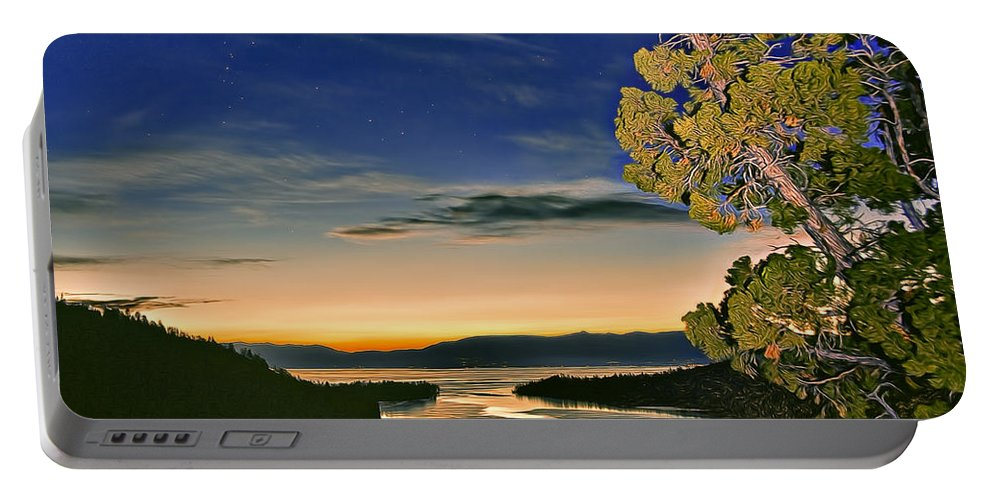 America Portable Battery Charger featuring the photograph Stars Over Emerald Bay by Maria Coulson